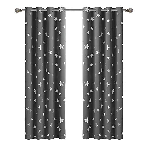 Anjee Stars Blackout Curtains for Kids Bedroom Nursery 2 Panels Space Grey Window Drapes 84 Inch Long Silver Foil Printed Thermal Insulated Living Room Darkening Playhouses, Space Gray 52x84 Inches
