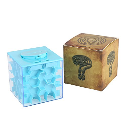 Acekid Money Maze Box Money Honeycomb Maze Bank Coin Cash Bill Storage Box Game Change Toy, Super Great Gifts (Light Blue)