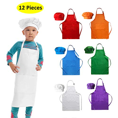 Hi loyaya 6 Pack Adjustable Children Chef Apron Set for Cooking Baking Painting Art Kids Chef Hat and Apron with 2 Pockets (Multicolor, M)