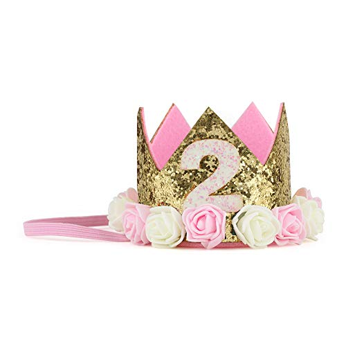 iMagitek Baby Girl 2nd Birthday Crown Hat, Baby Princess Flower Tiara Headband Party Hat Hairband for Second Birthday Party