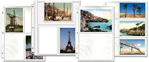 Hobbymaster Postcard Collecting Binder Page Assortment, 30 Pages in 4, fits Any 3 Ring Binder, Holds 170 Post Cards
