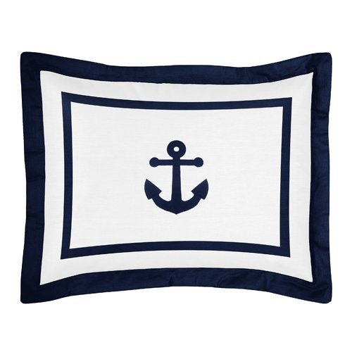 Sweet Jojo Designs Standard Pillow Sham for Navy and White Anchors Away Nautical Bedding