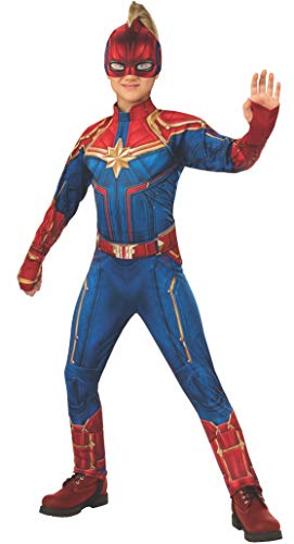 Rubie's Captain Marvel Children's Deluxe Hero Suit, Small 700597, Blue/Red