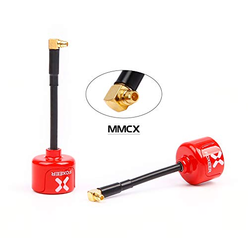 nidici Foxeer Lollipop 3 FPV Antenna 5.8GHz RHCP Ommi 2.5dbi MMCX Antenna for FPV Quadcopeter TX/RX/VTX (Angle)(Red,Pack of 2)