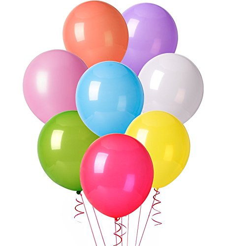 Mesha 128pcs Assorted Color Party Balloons Supplies,12 Inches 8 Kinds of Multicolor Rainbow Latex Balloons, Various Globos for Garland Arch Kit Decoration, Bridal & Baby Shower/ Wedding/ Birthday Part