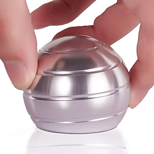 Kinetic Desk Toys for Office Adults and Kids Novelty Metal Fidget Gadget with Optical Illusion Unique Ball Stress Reliever for Stress Relief Anti Anxiety Increase Focus Inspire Creativity (Silver)