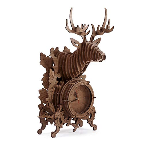 3D Wooden Puzzle Clock Model Kits for Adults - Reindeer Desk Clock