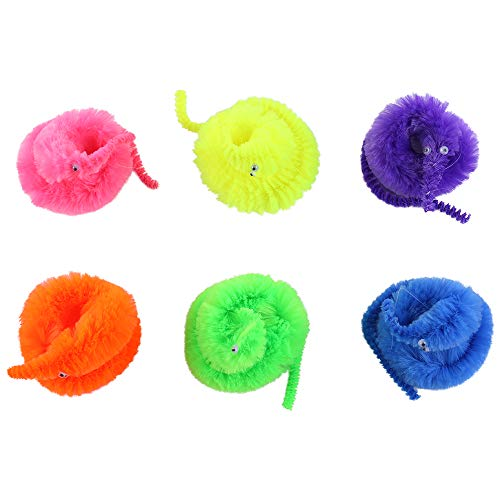 6pcs Magic Vivid Wiggly Twisty Fuzzy Worm Carnival Party Favors Toys