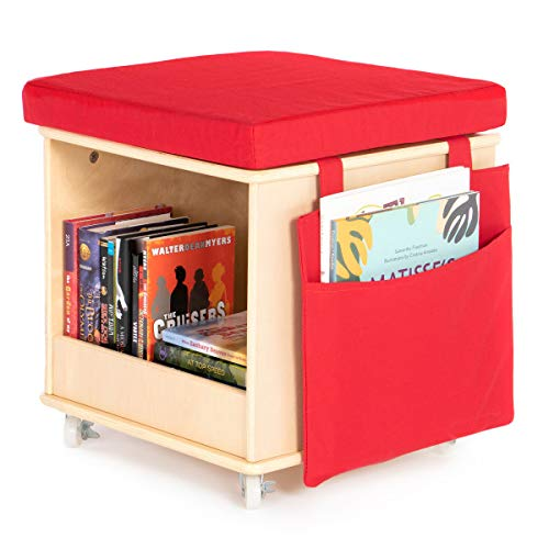 Guidecraft Storytime Rolling Cube Stool: Classroom Stool with Storage for Books, Children's School Supplies, Utility Rolling Cart