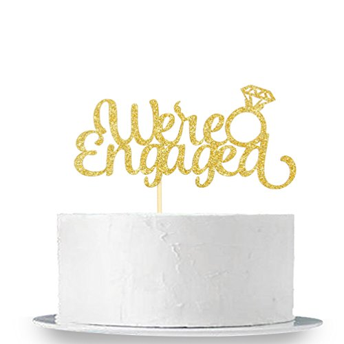 Gold Glitter We're Engaged Cake Topper - Wedding Party Decorations Supplies