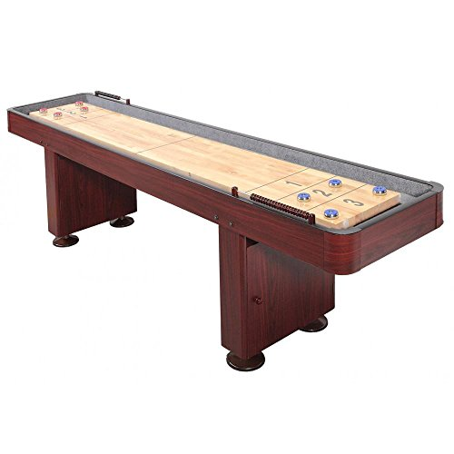 Shuffleboard Table 12 Ft Set Hardwood Block Surface Home Game - Dark Cherry