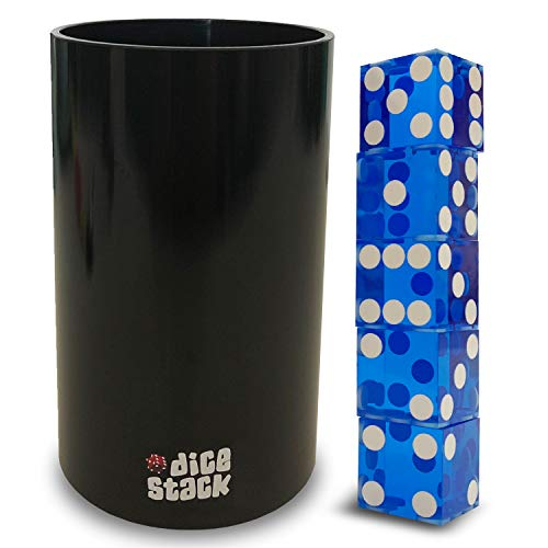 Dice Stacking PRO Cup Set - Professional Straight Cups with 5 Razor Edges 19mm Real Casino Dice in a Box - Accessories - Magic Tricks - Blue