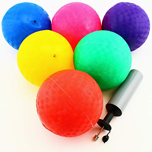 Adorox 5 inch Playground Balls (Set of 6) with Hand Pump for Kids Sports Games Kickball Handball Dodgeball