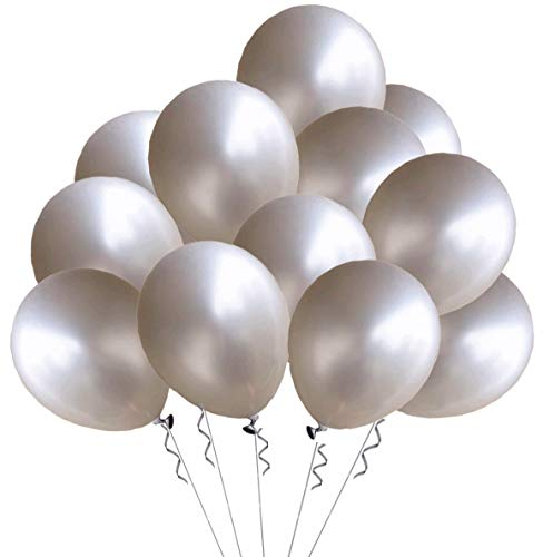 Elecrainbow 12 inches Balloons, 100 Pack, 3.2g per Piece (Silver)