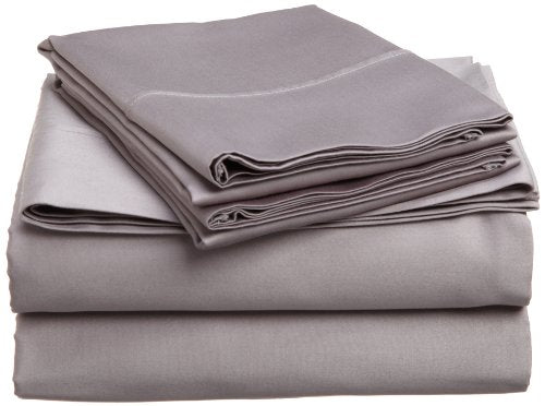 Superior 400 Thread Count Solid 3-Piece Sheet Set, Twin XL, Grey