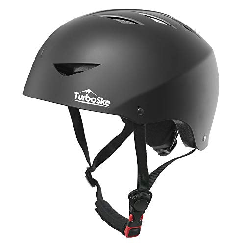 TurboSke Skateboard Helmet, ASTM & CPSC Certified Bike Helmet BMX Helmet Multi-Sport Helmet for Youth Men and Women (S/M, Matte Black)