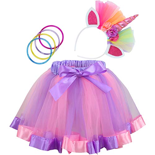 Cocojeci Little Girls Layered Rainbow Tutu Skirts with Unicorn Headband and Bracelets (Purple Rainbow, M, 2-4T)