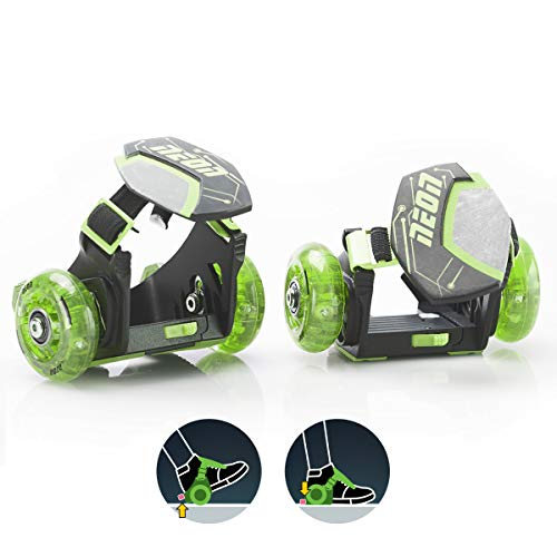 Yvolution Neon Street Rollers Pop N' Lock | Flashing Heel Wheels Clip on Skates for Kids Over 6 Year Old (Green)