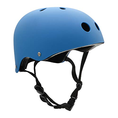 FerDIM Skateboard Helmet, Kids/Adult Bike Helmet with Removable Liner Skiing, Adjustable Straps CPSC Certified for Skateboard, Scooter, Skating, Cycling, Roller Skate,Skiing, Size Large Blue