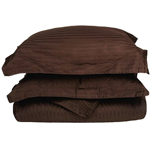 Superior 100% Premium Combed Cotton, Soft Single Ply Sateen, 2-Piece Duvet Cover Set, Stipe, Twin - Mocha