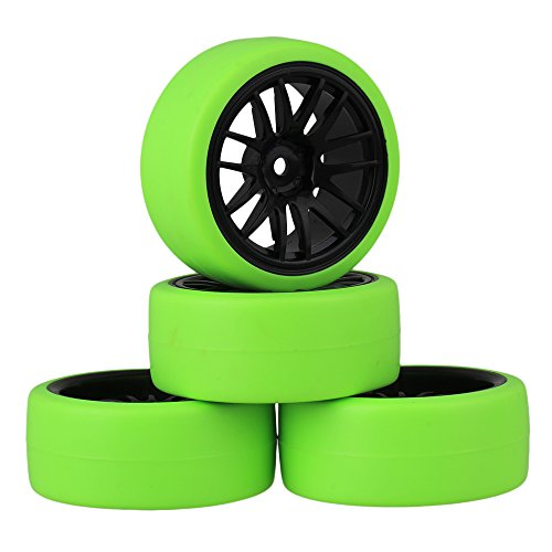 Mxfans Black Plastic 14 Spoke Wheel Rims and Green Drift Smooth Tyres for RC 1:10 On Road Racing Car Set of 4