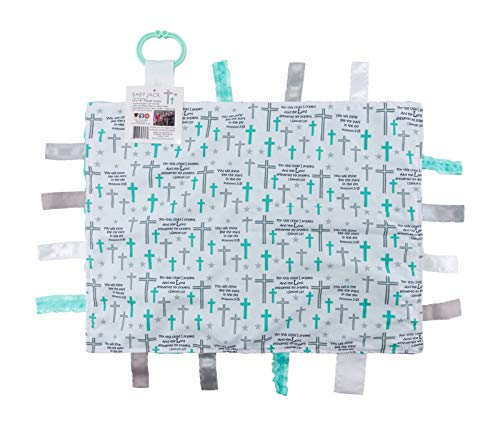 Baby Sensory, Security & Teething Closed Ribbon Tag Lovey Blanket with Minky Dot Fabric: 14鈥漍18鈥� (Prayer)