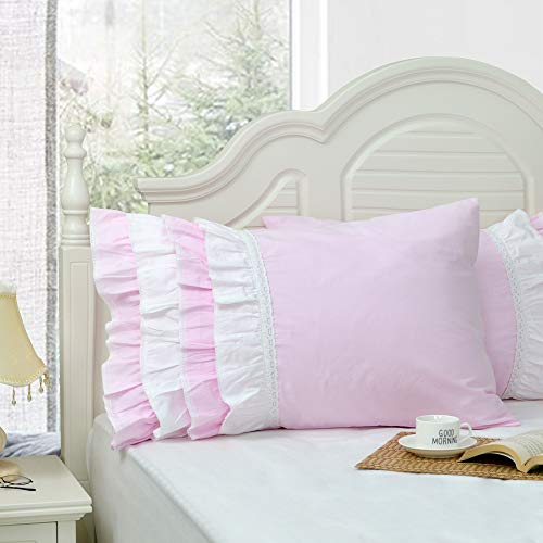 Softta 100% Cotton Vintage Ruffle Lace Patchwork Pillow Cover Shams (Pack of 2 NO Filling) White and Pink Standard (Twin/Full/Queen)