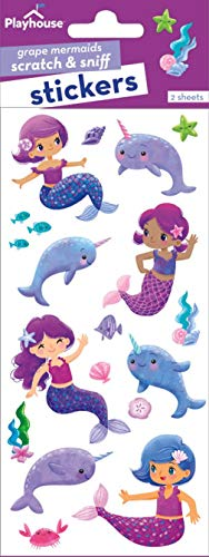 Playhouse Mermaids and Narwhals Grape Scented Scratch & Sniff Sticker Sheets