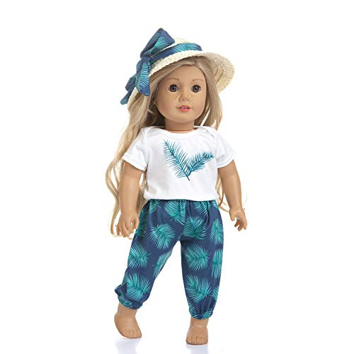 Ecore Fun Lot 3 Items 18 Inch Doll Beach Clothes Summer Casual Wear Outfit for American 18 Inch Girl Doll - Birthday Reward Gift for Kid