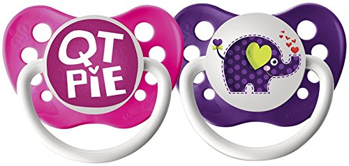 Ulubulu Lots of Love Pacifiers - QT Pie & Elephant - 0-6 Months - 2 ct