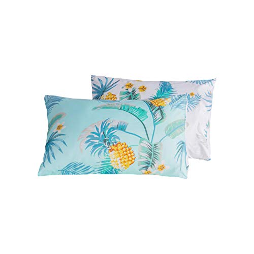 Carisder Floral Pillowcases 2 Packs, Stardard Size 100% Brushed Microfiber Ultra Soft Pillow Lightweight Covers Envelope Closure End (Twin/Queen, AB Version Pineapple)