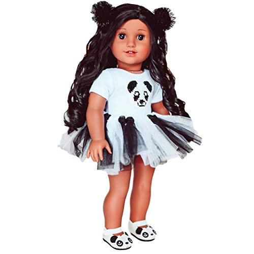 MY GENIUS DOLLS Panda Doll Clothes. Fits 18 inch Dolls Like Our Generation, My Life, American Girl Doll. Accessories, Outfits, Headband, Reversible Sequin Patch Tutu and Shoes (Doll not Included)