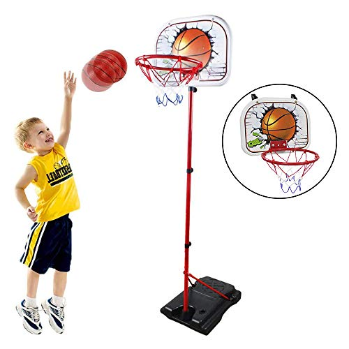 HANMUN Basketball Hoop for Kids Set Adjustable Portable Basketball Set 2-in-1 2020 TOP19044 Kids Basketball Stand Sport Game Play Set Net , Ball and air Pump Inclued 3+ Years Toddler Baby Sport … …