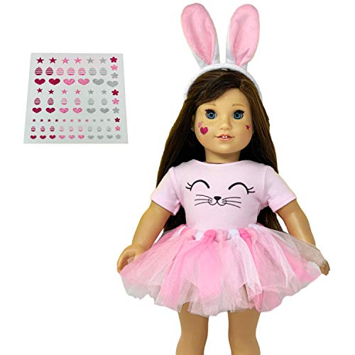 MY GENIUS DOLLS Bunny Doll Clothes. Fits 18 inch Dolls Like Our Generation, My Life and American Girl Doll. Accessories, Outfits | Bunny Ears, Tutu with Pompom and Cute Stickers Doll Not Included