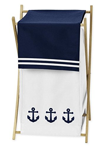 Baby/Kids Clothes Laundry Hamper for Anchors Away Nautical Navy and White Bedding