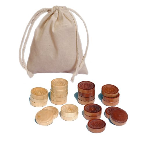 WE Games Wood Checker Pieces with Cloth Pouch - Brown & Natural