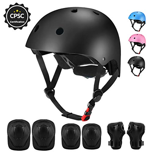 Kids Helmet - Adjustable Toddler Bike Helmet for Boys Girls Ages 3-8, CPSC Certified Kids Helmet with Sport Protective Gear Set Knee Elbow Wrist Pads for Skateboard Roller Skating Scooter Cycling