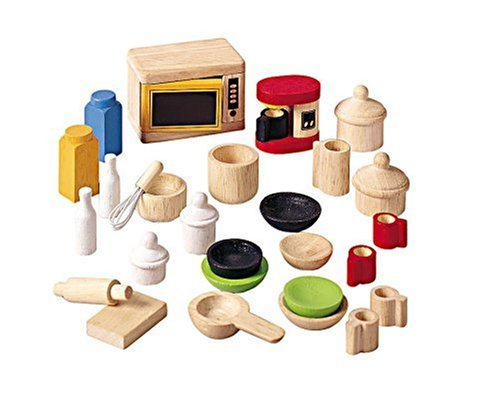 PlanToys Wooden Dollhouse Accessories for Kitchen and Tableware (9406) | Sustainably Made from Rubberwood and Non-Toxic Paints and Dyes