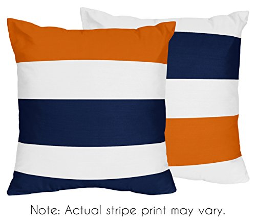 Sweet Jojo Designs Navy Blue, Orange and White Decorative Accent Throw Pillows for Stripe Collection - Set of 2