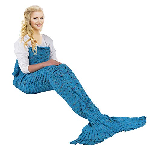yashidali Wearable Mermaid Tail Blanket, Wave Pattern, All Seasons Warm Knitted Bed Blanket Sofa Quilt Living Room Sleeping Bag for Kids and Adults, 70.9
