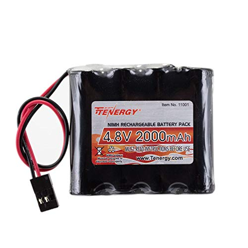 Tenergy NiMH Receiver RX Battery with Hitec Connectors 4.8V 2000mAh High Capacity Rechargeable Battery Pack for RC Receivers, RC Aircrafts and More