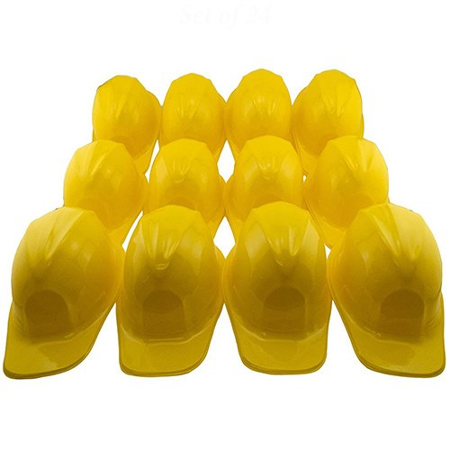 Adorox 12pcs Yellow Construction Soft Plastic Child Hat Helmet Costume Birthday Party Favor Kids Hard Cap Halloween Toy (12 Yellow Hats)
