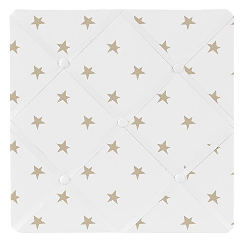Gold and White Star Fabric Memory Memo Photo Bulletin Board for Celestial Collection by Sweet Jojo Designs