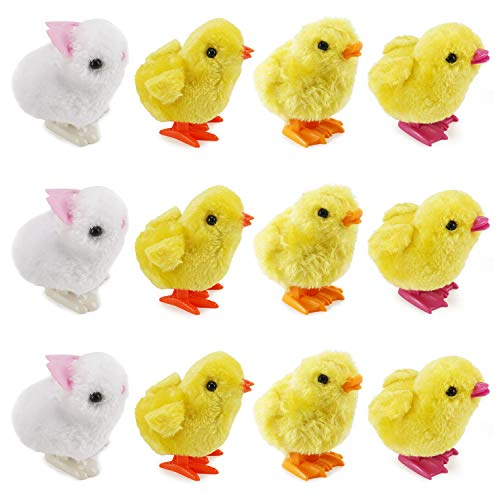 Liberty Imports 1 Dozen Wind-Up Jumping Chicken and Bunnies Party Favors (Pack of 12)