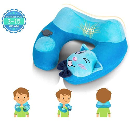 Inflatable Travel Neck Pillow Airplane Comfortable U Shaped Cushion Head Support Car Pillow for Kids