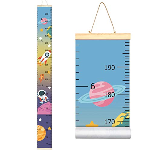 Sylfairy Baby Girls Growth Chart Ruler, Wood Frame Fabric Canvas Height Measurement Ruler from Baby to Adult for Child's Nursery Room Decoration Unique Baby Shower Gift 79