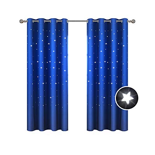 BUZIO 2 Panels Twinkle Star Kids Room Curtains with 2 Tiebacks, Thermal Insulated Blackout Curtains with Punched Out Stars, Drapes for Space Themed Nursery and Bedroom (52 x 63 Inches, Royal Blue)