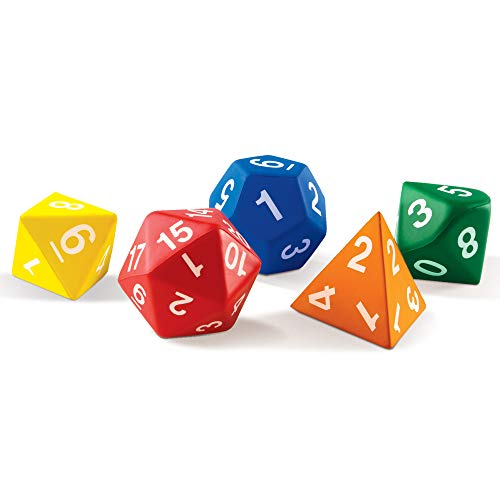 Learning Resources Jumbo Foam Polyhedral Dice, 5 Dice, 4, 8, 10, 20 Sides, Ages 5+