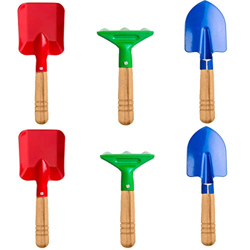 Delphinus Kids Gardening Tools Set, 6pcs Gardening Tools for Kids Metal with Sturdy Wooden Handle Safe Gardening Tools 8