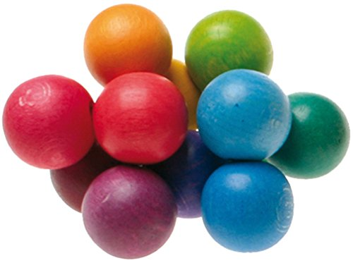 Grimm's Beads Grasper - Wooden Baby Rattle Toy with Large Balls in Rainbow Colors, Handmade in Germany